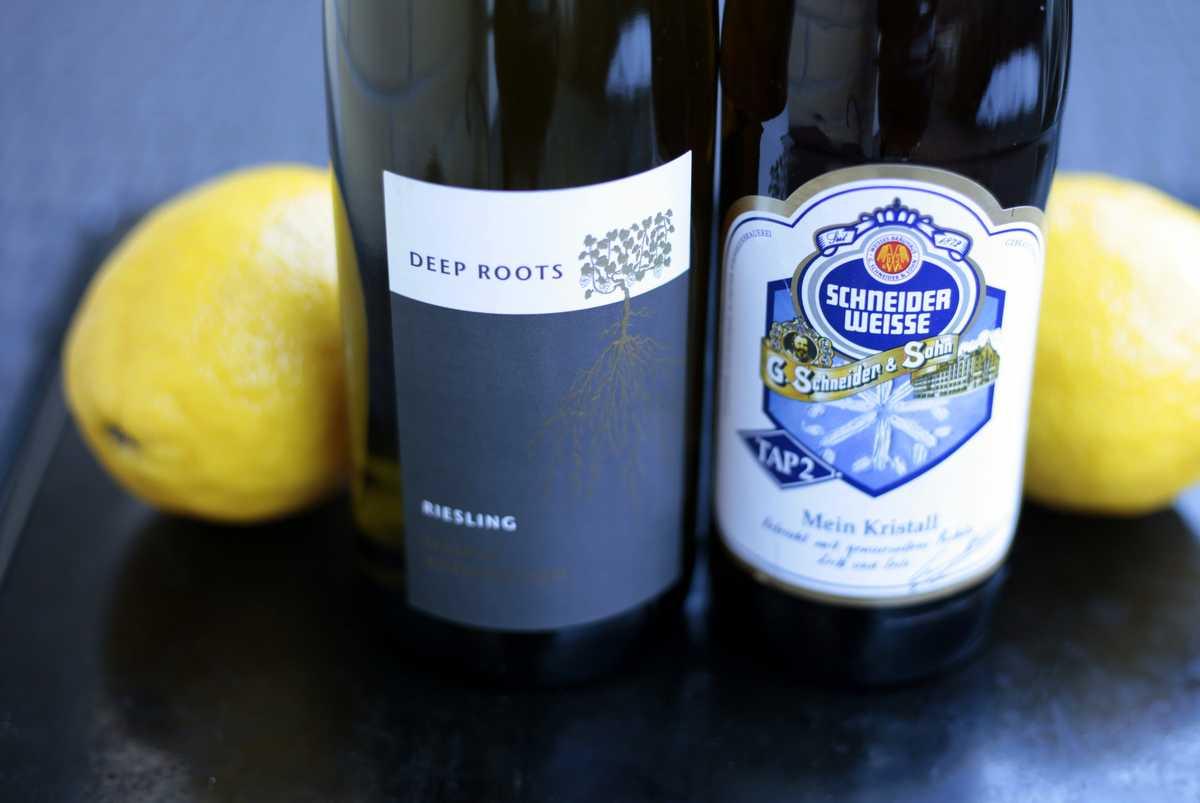 Vaalea olut ja valkoviini sopivat sitruunarisotolle